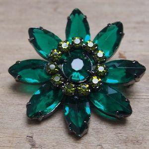 Green Flower Baguette Crystal & Rhinestone Brooch